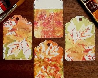 Fall Leaves Tags; Gift Tags; Autumn Gift Tags; Autumn Leaves; Fall Gift Tags; Fall Leaves; Watercolor Prints; Watercolor Gift Tags