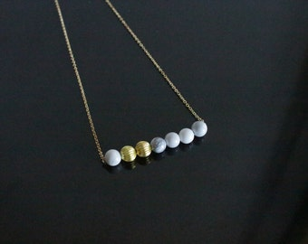 Necklace with Marble and Gold Plated Beads