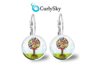 Vibrant Earrings Colorful Bubble Earrings Vibrant Tree Earrings Vibrant Colorful Earrings Vibrant Colors Earrings Vibrant Art Earrings