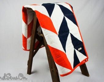Baby Quilt, Orange and Blue Baby Quilt, Baby Blanket, Modern Baby Blanket, Herringbone Quilt