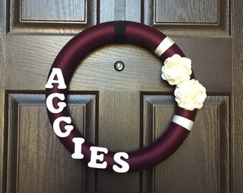 Texas A&M Wreath, Aggie wreath, Aggie Yarn wreath, College Football Wreath, SEC Wreath, Texas Aggie Wreath, TX ATM Wreath