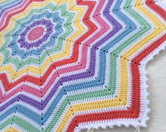 Crochet Rainbow Baby Blanket - 12 Pointed Star Afghan - Colourful Round Ripple - Nursery Baby Gift - Toddler Play-mat Custom Made to Order
