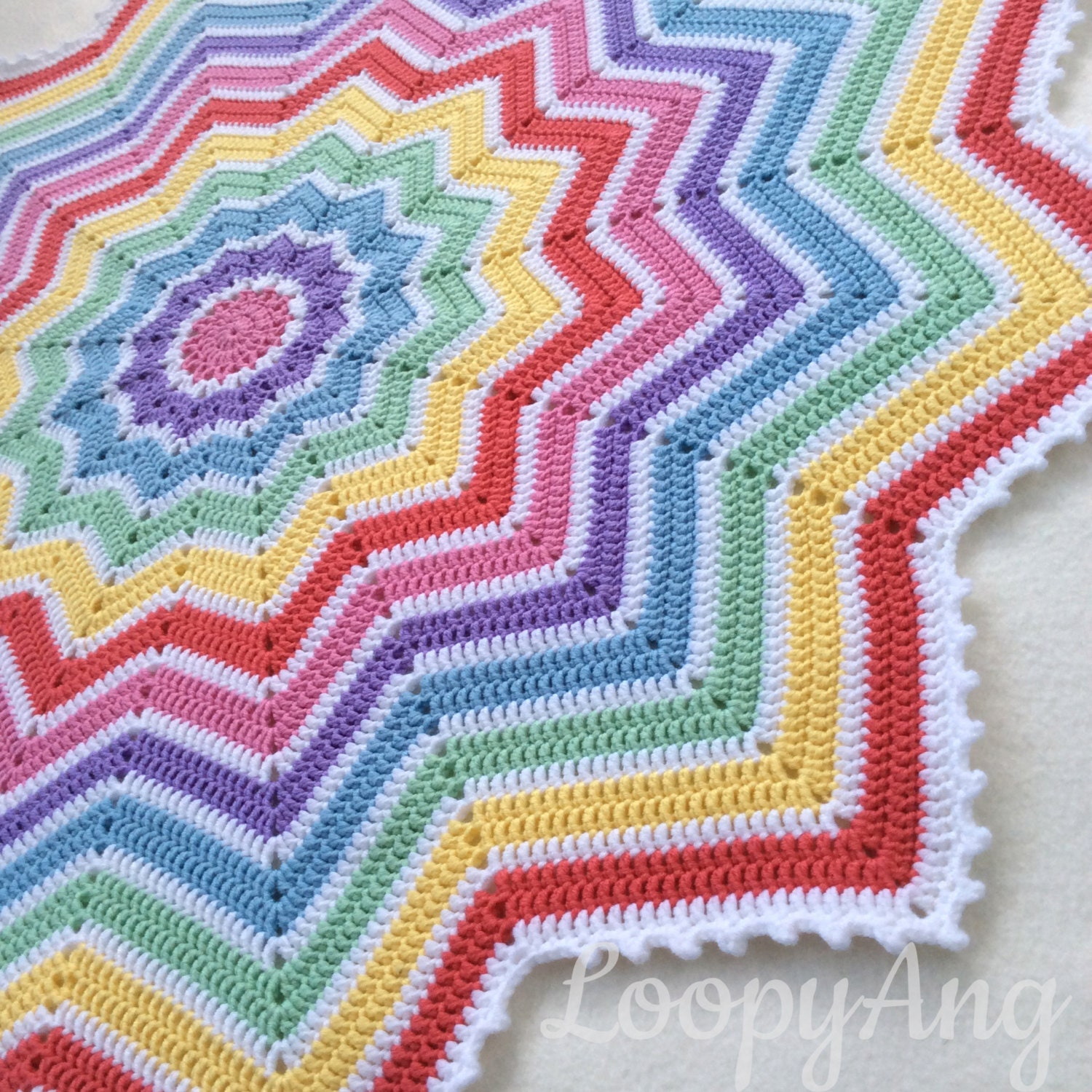 Crochet Rainbow Baby Blanket 12 Pointed Star Afghan