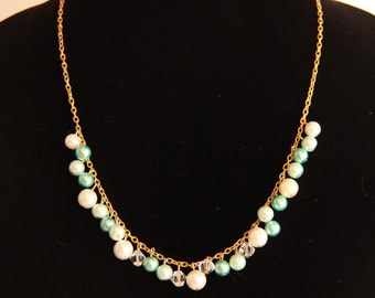 White and Light Blue Pearls on a Gold Chain Necklace