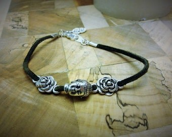 Green Leather Buddha and Rose Bracelet
