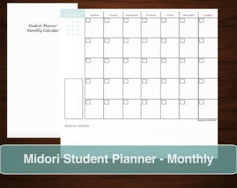 MIDORI  Student Planner Monthly Calendar Inserts, Printable Download Scheduler Notebook Journal, Academic School University College Studies
