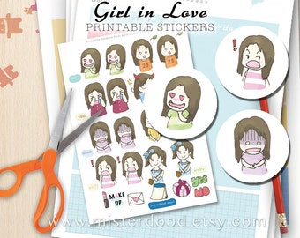GIRL IN LOVE Printable Sticker, Daily Lifestyle, Cute Teenage Crush Heart Romantic , Diary Planner Journal Notebook, Digital Clipart Doodle