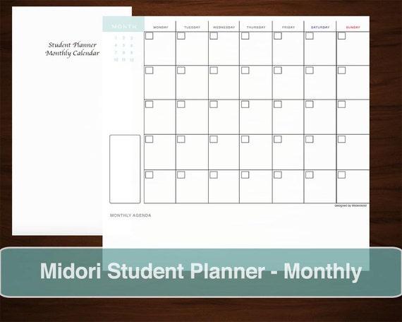 Study Planner Calendar : Midori student planner monthly calendar inserts printable