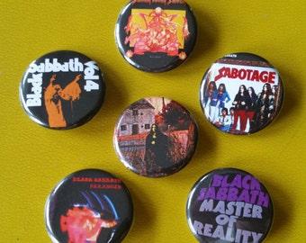 "Black Sabbath set of 6 pin back buttons 1.25"""