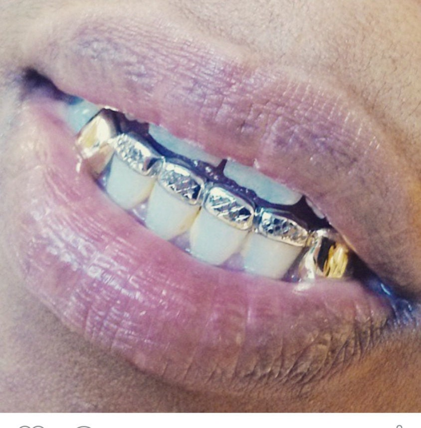 10k gold teeth fangs with front bar top or bottom by grillzgodz