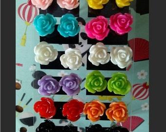 Small kawaii multicoloured rose earrings