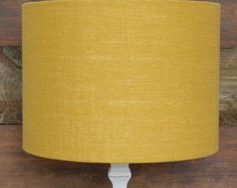 Mustard Yellow Linen Lampshade