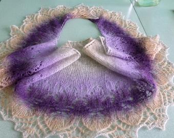 Christmas Gift Wool Shawl Knit Shawl Scarf Wool Scarf Lilac Purple Shawl Neck Warmer Knitted Gift For Women Hand Knit Scarf Handmade Gift