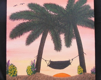 Tropical Island Getaway. Palm trees. Hand painted, acrylic canvas painting, wall art