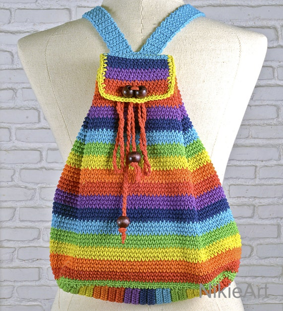 Crochet Back Bag : ... bag 100 % cotton shoulder bag crochet bag Bright color modern crochet