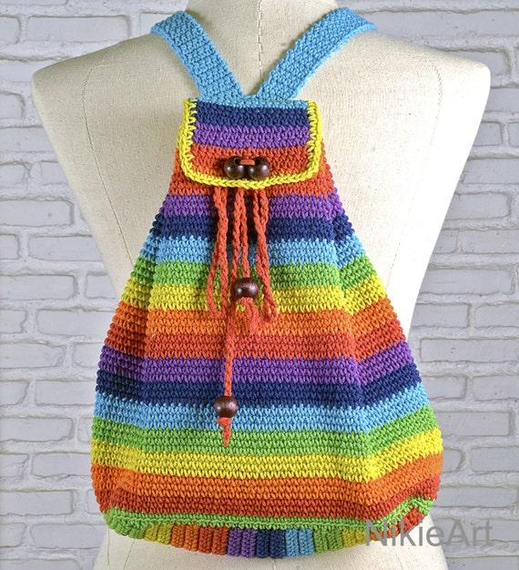 Rainbow Crochet Bag : Rainbow Crochet backpack Casual woman bag 100 % cotton shoulder bag ...