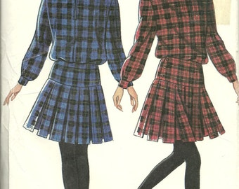 New Look 1980s vintage sewing pattern - dress with pleated skirt - Size 8-18