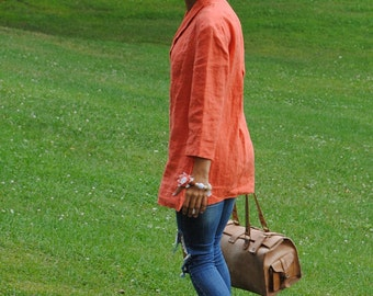 Orange linen tunic, linen tunic dress, v-neck linen tunic, casual linen top with shawl collar, linen tunics for women