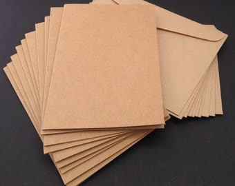 A5 / A6 Blank Kraft Cards 280gsm with C6 envelopes set – Birthday cards – DIY Blank Kraft cards – Wedding cards