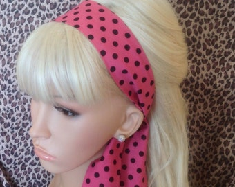 Pink Polka Dot 'Pink Ladies' Head Scarf Hair Band Self Tie Bow 50s Rockabilly Gothic Hair wrap head band