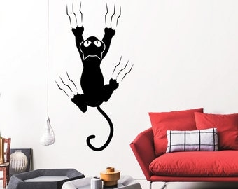 Wall Decal Cat Scratches Pet Silhouette Animals Design Interior Wall Decals Bedroom Nursery Living Room Pets Shop Home Decor 3874