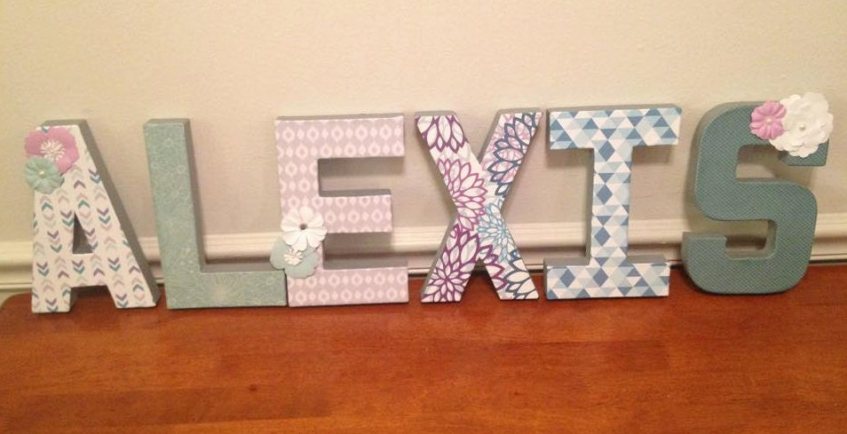 paper mache letters 8 decorated paper mache letters example purple grey 23894