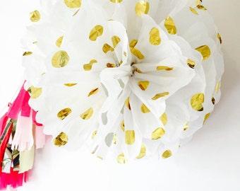 Tissue paper Pom poms - Gold Polka Dot Pom poms - Birthday decorations - Baby Shower Decorations - Wedding Decorations - Gold Foil Poms