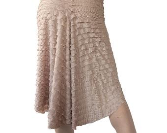Pink & Black Polka Dot Ruffle - Godet Tango Skirt