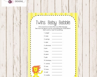 Modest image within twin baby shower games free printable