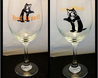 Hufflepuff Harry Potter Inspired Hogwarts House Wine Glass Stemmed or Stemless