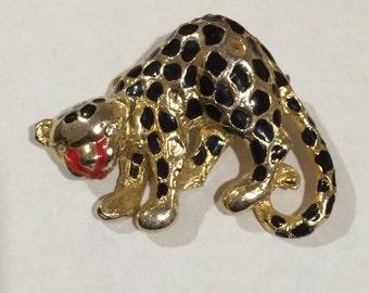 Vintage Gold Tone Leopard Brooch, Cheetah Brooch, Animal Print Brooch