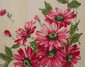 "Floral pattern tablecloth, 48"" square, green field with pink and red daisies"