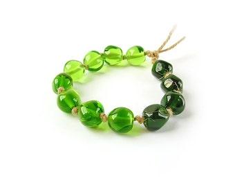 Handmade Lampwork  Bead Set, Glass Bead Set, Glass Beads, Freeform Beads, Multicolor Glass Beads, Green