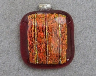 Red Patterned Dichroic Glass Pendant with Sterling Silver Bail - g0540d25