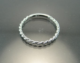 Thin Rope Chain Band - 2mm White Gold Wedding Band - 18K White Gold Rope Ring - 2mm Twisted Rope Chain Ring - Rope Chain Design Wedding Band