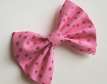 Fabric bow hair clip - pink hair bow pink glitter bow- pink bow- newborn headband - toddler headband - baby headband - infant headband- teen