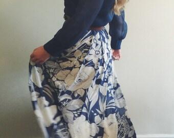 Vintage Blue Long Sleeve Floral Print Maxi Dress