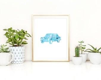 Vintage Car Art Printable Bright Blue Watercolor Nursery Room Decor