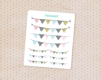 Weekend bunting banner stickers - pink, blue and gold party collection / cute decorative GLOSSY stickers for planners