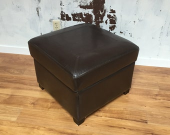 MCM Style Leather Storage Footstool Ottoman