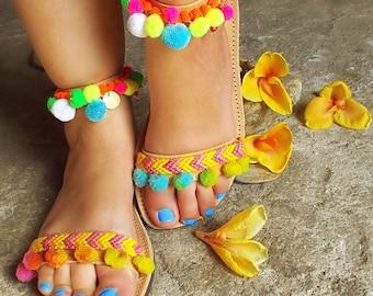 """Bohemian Sandals with Rainbow Pom Pom """" Mimosa"""" !!!"""