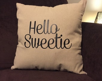 Doctor Who inspired Hello Sweetie throw pillow case