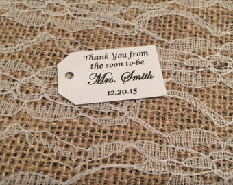 Bridal Shower Thank You Tags, Bridal Shower Gift Tags, Bridal Shower Favor Tags, Wedding Favor Tags, Wedding Thank You Tags, Set of 25
