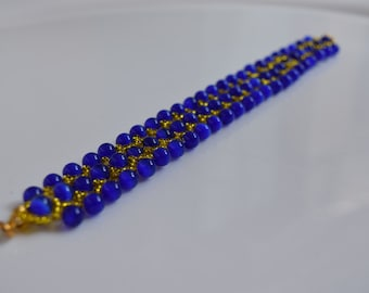 Bracelet, woven Bracelet, Bracelet made hand, royal blue Bracelet, unique Bracelet, wrist adornment, blue and yellow, pink Creations Boutik