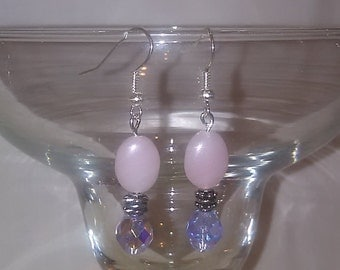 Pink glass dangle earrings with lilac