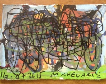 ACEO - ATC - Original drawing/painting - M.Chevarie - Title: Green base.