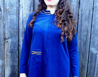 1970s navy blue lounge // 70's navy blue dress // Retro lounge // Union made