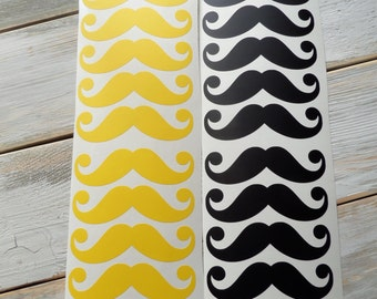 24 vinyl mustache stickers, mustache party decorations, cup decals, moustache decorations, mustache labels