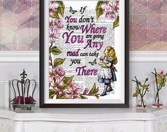 Alice in wonderland wall art, dictionary book artwork Poster, Lewis Carroll quote, Original illustration