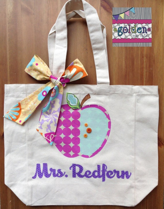 Personalized Name and Apple Teacher Tote Bag with Fabric Bow, Orchid, Purple, Orange